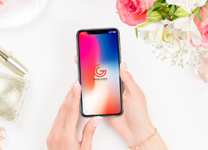 Free Beautiful Woman Using iPhone X Mockup