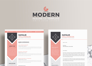 Free Modern Resume CV Template For Designers and Developers With Cover Letter
