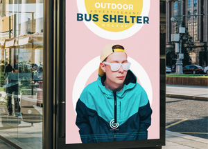 Free Outdoor Advertisement Bus Shelter Mockup PSD 2018