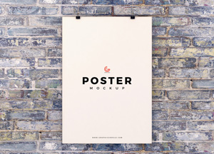Free Poster Hanging on Brick Wall Mockup PSD For Presentation