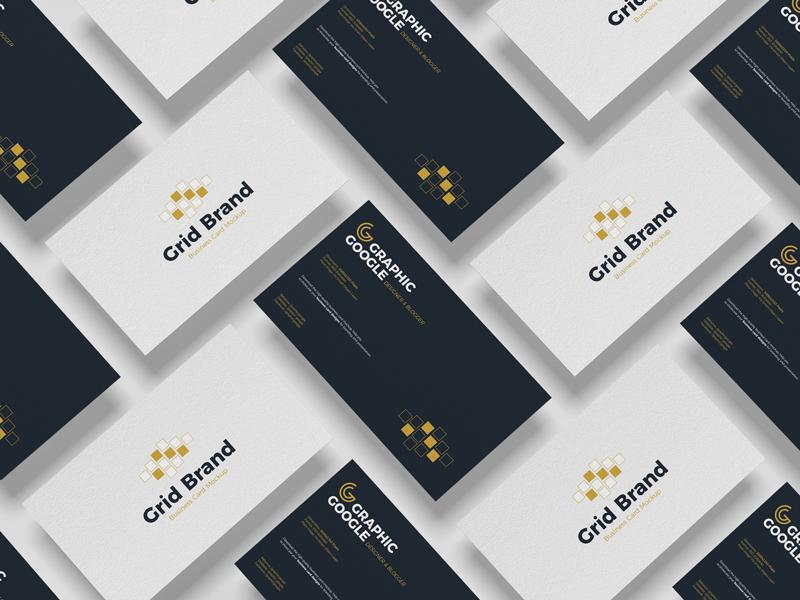 Free Grid Brand Business Card Mockup 2